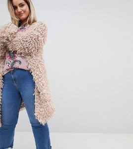 Read more about Glamorous curve oversized cardigan in shaggy knit - pink grey multi