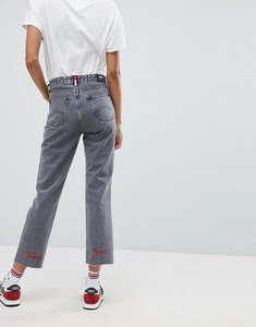 Read more about Tommy jeans high rise straight leg jeans with embroidered logo - liberty grey