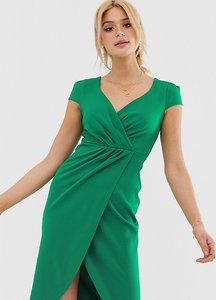 Read more about City goddess tall bardot wrap over pencil midi dress - green