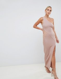 Read more about Asos design one shoulder minimal rib mesh maxi dress - nude