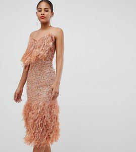 Read more about Asos design tall feather effect trim sequin midi bodycon dress - dark nude