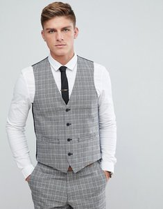 Read more about French connection prince of wales blue check slim fit waistcoat - grey