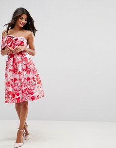 Read more about Asos one shoulder bow midi prom dress in floral jacquard - multi