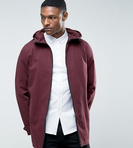 Read more about Asos tall lightweight parka jacket in burgundy - burgundy