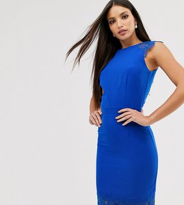 Read more about Paper dolls tall cap sleeve pencil dress with lace insert in cobalt