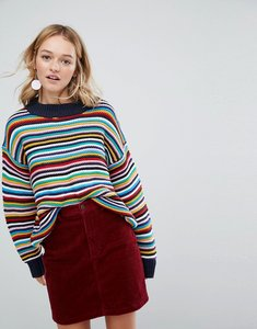 Read more about Monki high neck ribbed jumper - multi