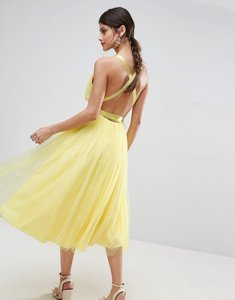 Read more about Asos premium tulle midi prom dress with ribbon ties - lemon yellow