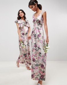 Read more about Asos design lace insert maxi dress in pretty floral print - floral