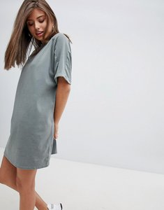 Read more about Asos design t-shirt dress with rolled sleeves and wash - khaki