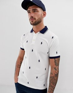 Read more about Polo ralph lauren all over player logo pique polo slim fit in white