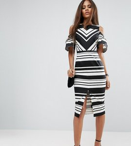 Read more about Asos tall cold shoulder pencil dress in black and white stripe - mono