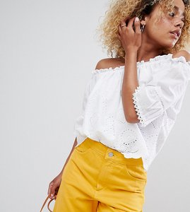 Read more about New look petite cutwork bardot top - white