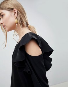 Read more about Selected kassia cold shoulder blouse - black