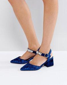 Read more about Asos showgirl embellished mid heels - navy velvet
