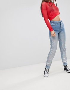 Read more about Glamorous metallic boyfriend jeans - light holographic