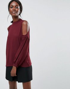Read more about Y a s ruffle cold shoulder top - decadent chocolate
