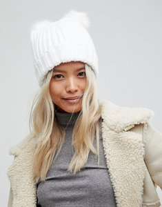 Read more about Brave soul hlaf cardigan knit hat with 2 faux fur poms in black - white