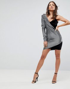 Read more about Asos tux metallic one shoulder mini bodycon dress - silver black