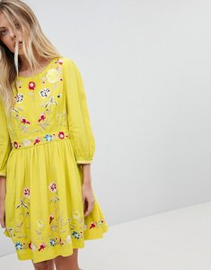 Read more about French connection floral embroidered mini dress - dark citron