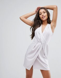 Read more about Asos drape front mini tux dress - silver