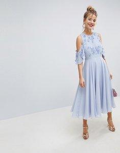 Read more about Asos embellished 3d cluster cold shoulder midi dress - pale blue