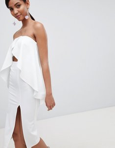 Read more about Asos design bandeau frill cut out midi dress - ivory