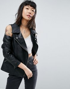 Read more about Asos faux leather biker jacket with cold shoulder - black