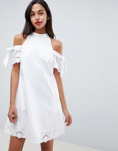 Read more about Ted baker embroidered cold shoulder dress - white