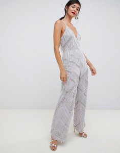 Read more about Asos edition fringe pearl embellished jumpsuit with wide leg - dusky lilac