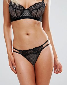 Read more about Asos fuller bust caggie fishnet lace thong - black