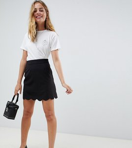Read more about Asos petite tailored a-line mini skirt with scallop hem - black