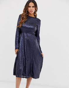 Read more about Tfnc long sleeve fit and flare sequin midi dress in navy