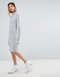 Read more about Asos knitted dress with turtle neck in fluffy rib - grey