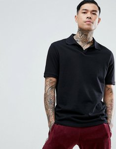Read more about Asos jersey polo shirt with revere collar in relaxed fit - black