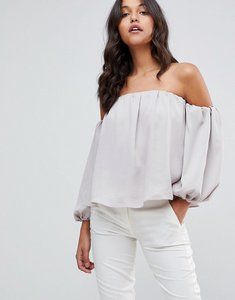 Read more about Asos satin off shoulder top with balloon sleeve - silver