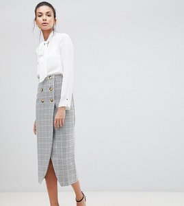 Read more about Asos design tall double breasted pencil skirt in check - multi