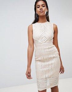 Read more about Rare london sequin stripe midi dress - cream
