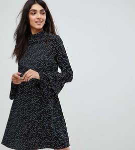 Read more about Influence tall high neck flared sleeve polka dot dress - black polka dot