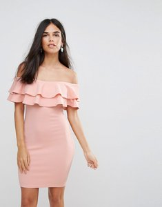 Read more about Ax paris double ruffle bodycon dress - pink