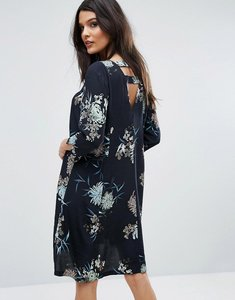 Read more about Y a s floral print open back dress - black multi