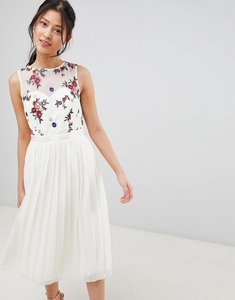 Read more about Little mistress midi dress with embroidery detail - cream