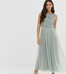 Read more about Maya bridesmaid sleeveless midaxi tulle dress with tonal delicate sequin overlay in green lily