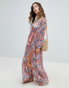 Read more about America beyond maxi beach dress with leaf print - multi