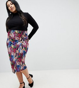 Read more about Lost ink plus pencil skirt in tropical print with side tabs - multi