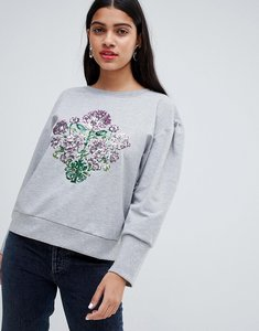 Read more about Chorus mutton sleeve sweater with sequin floral - grey