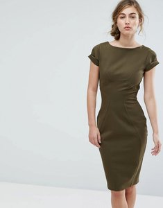 Read more about Closet london pencil dress with ruched cap sleeve - khaki
