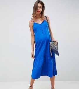 Read more about Asos design maternity pep hem midi slip dress in jacquard - cobalt
