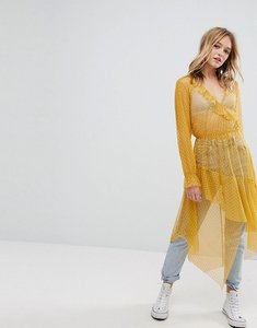 Read more about Bershka dobby mesh maxi dress - yellow