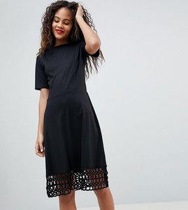 Read more about Y a s tall crochet hem dress - black