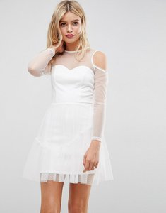Read more about Asos dobby mesh skater with cold shoulder dress - ivory